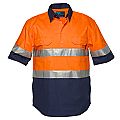 Hi-Vis Two Tone Regular Weight Short Sleeve Closed Front Shirt with Tape