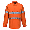 Hi-Vis Long Sleeve Closed Front Shirt with Tape