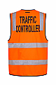 Day/Night Safety Vest with Tape - Traffic Controller - Orange
