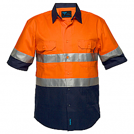 Hi-Vis Two Tone Regular Weight Short Sleeve Shirt with Tape