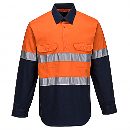 Hi-Vis Two Tone Regular Weight Long Sleeve Closed Front Shirt with Tape