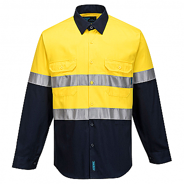 Hi-Vis Two Tone Regular Weight Long Sleeve Shirt with Tape