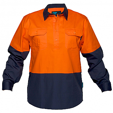 Hi-Vis Two Tone Lightweight Long Sleeve Closed Front Shirt