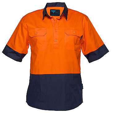 Hi-Vis Two Tone Lightweight Short Sleeve Closed Front Shirt