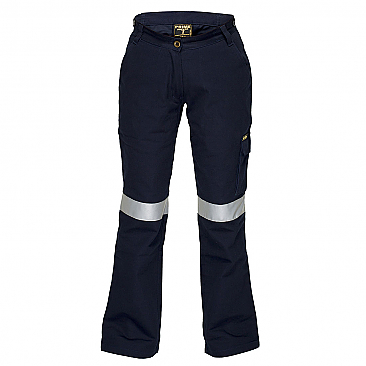 Ladies Cargo Pants with Tape - Navy