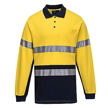 Cotton Pique Polo with Tape - Long Sleeve