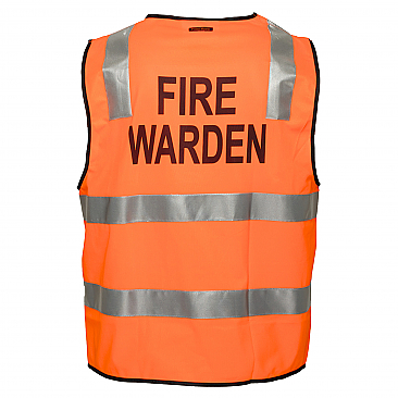 Day/Night Safety Vest with Tape - Fire Warden - Orange
