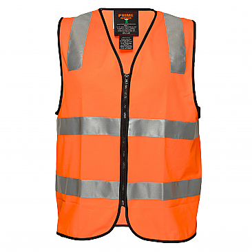 Day/Night Safety Vest with Tape - Security - Orange